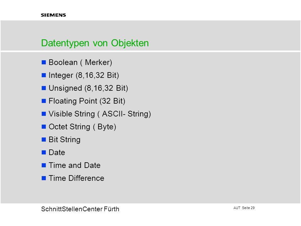AUT Seite 29 20 SchnittStellenCenter Fürth Datentypen von Objekten Boolean ( Merker) Integer (8,16,32 Bit) Unsigned (8,16,32 Bit) Floating Point (32 B