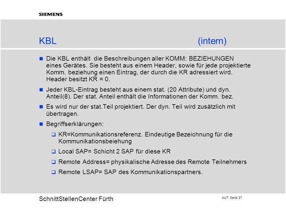 AUT Seite 37 20 SchnittStellenCenter Fürth KBL(intern) Die KBL enthält die Beschreibungen aller KOMM: BEZIEHUNGEN eines Gerätes. Sie besteht aus einem