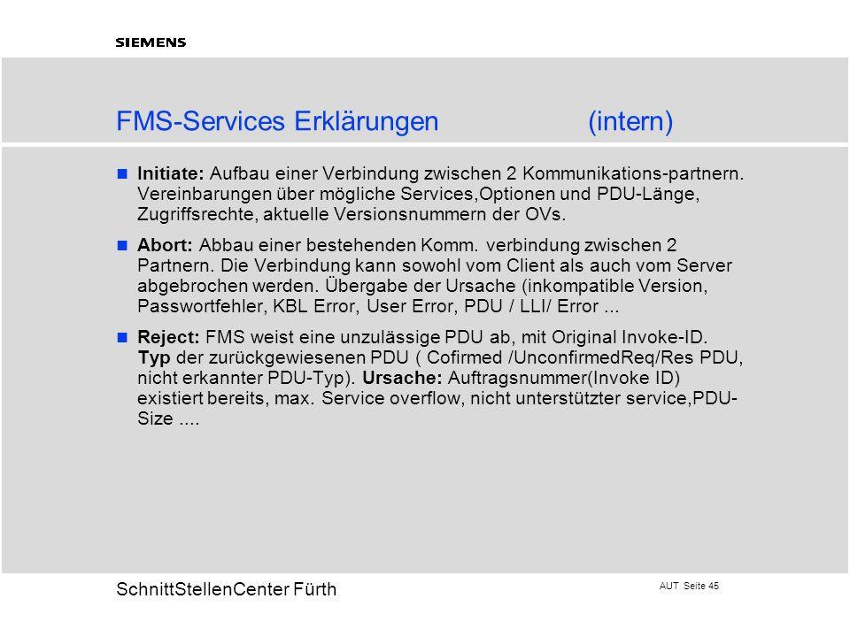 AUT Seite 45 20 SchnittStellenCenter Fürth FMS-Services Erklärungen(intern) Initiate: Aufbau einer Verbindung zwischen 2 Kommunikations-partnern. Vere
