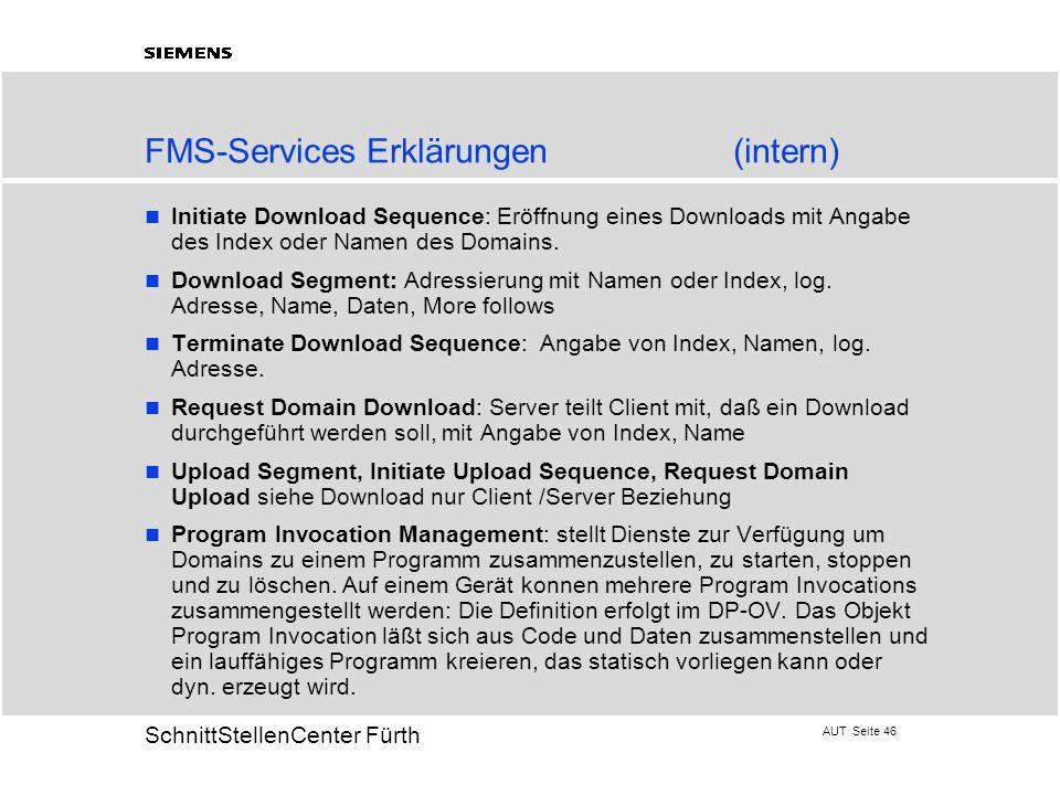 AUT Seite 46 20 SchnittStellenCenter Fürth FMS-Services Erklärungen(intern) Initiate Download Sequence: Eröffnung eines Downloads mit Angabe des Index