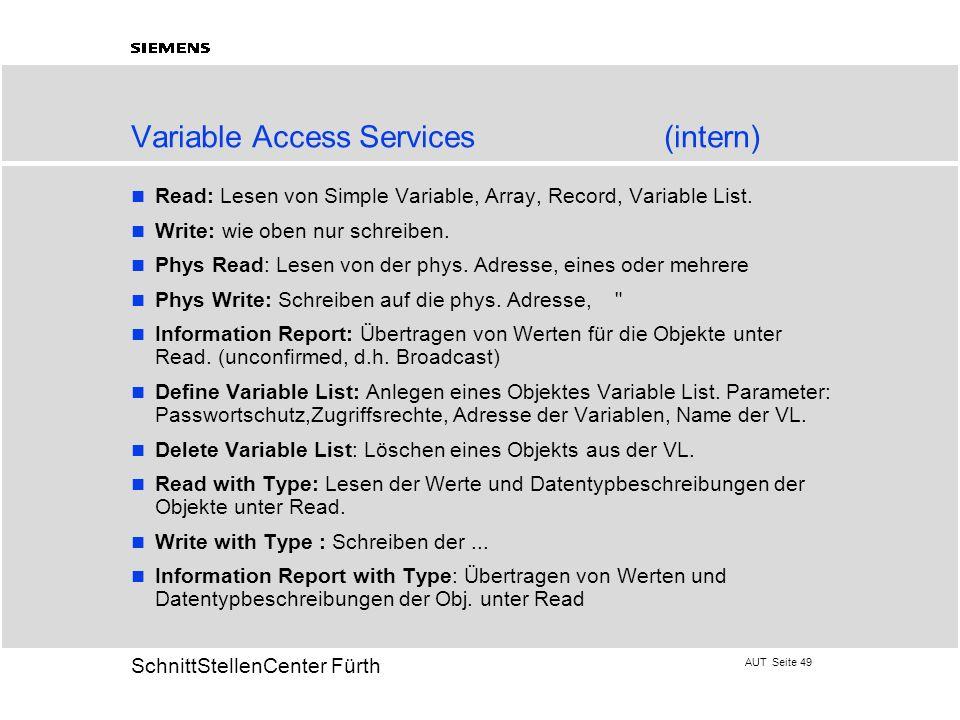 AUT Seite 49 20 SchnittStellenCenter Fürth Variable Access Services(intern) Read: Lesen von Simple Variable, Array, Record, Variable List. Write: wie