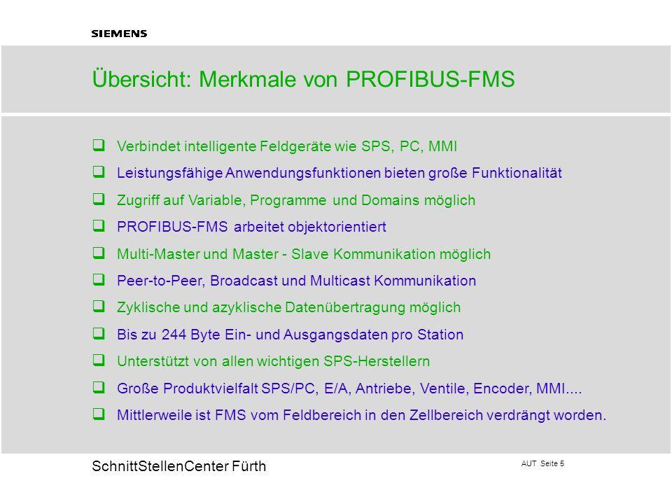 AUT Seite 5 20 SchnittStellenCenter Fürth Übersicht: Merkmale von PROFIBUS-FMS q Verbindet intelligente Feldgeräte wie SPS, PC, MMI q Leistungsfähige