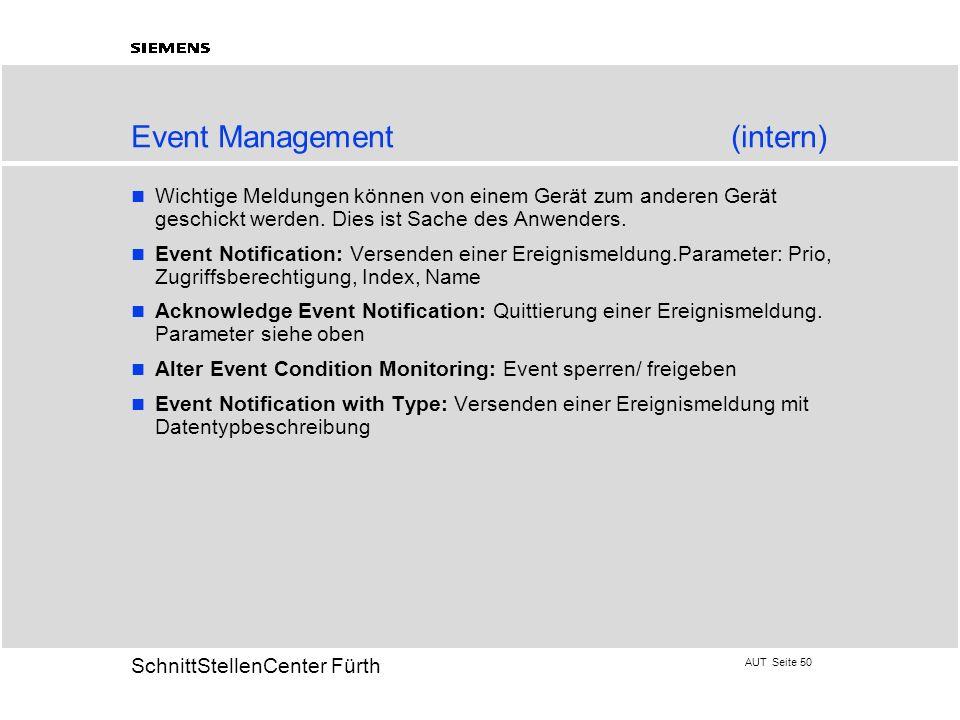 AUT Seite 50 20 SchnittStellenCenter Fürth Event Management(intern) Wichtige Meldungen können von einem Gerät zum anderen Gerät geschickt werden. Dies