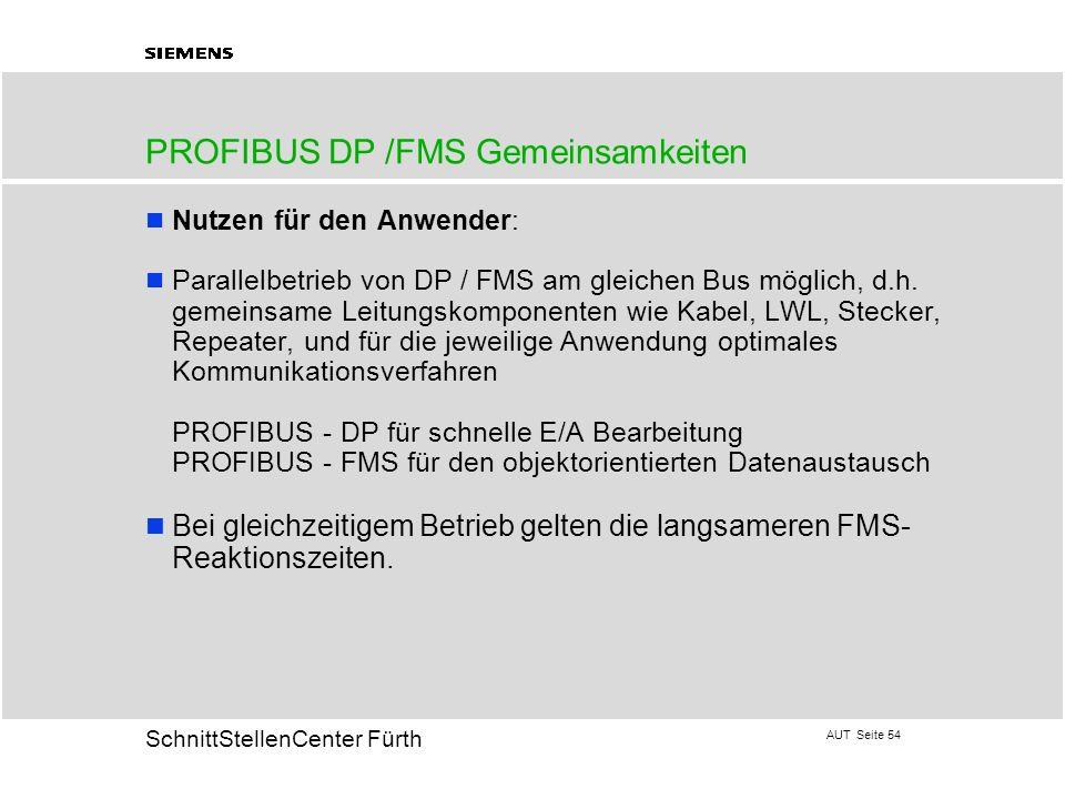 AUT Seite 54 20 SchnittStellenCenter Fürth PROFIBUS DP /FMS Gemeinsamkeiten Nutzen für den Anwender: Parallelbetrieb von DP / FMS am gleichen Bus mögl