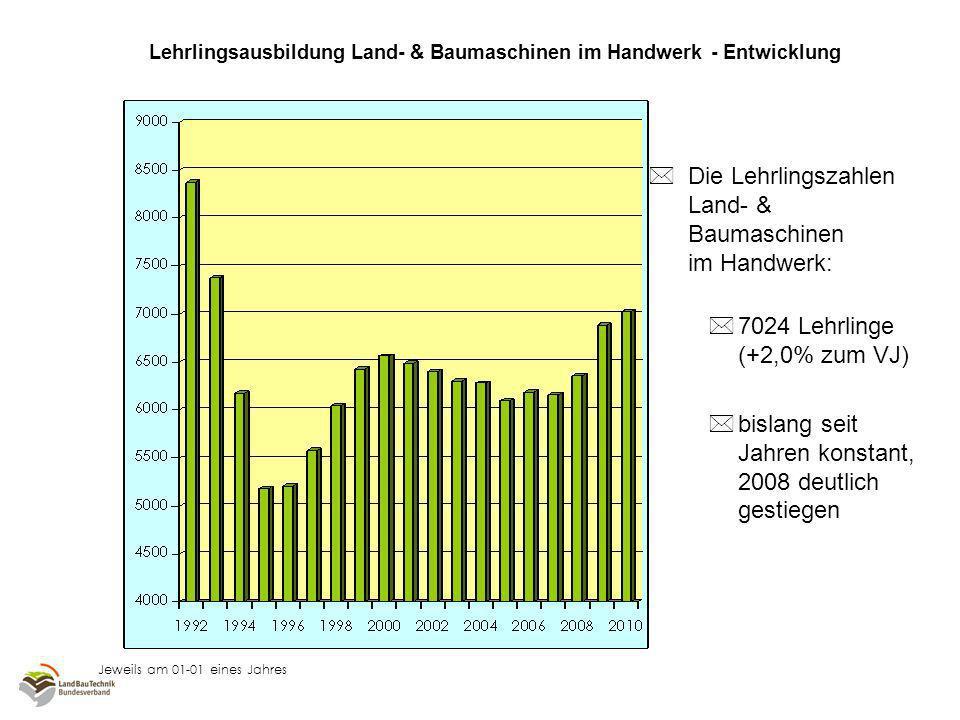 Relationale Darstellung bei 1995 = 100 jeweils am 01-01 eines Jahres Lehrlingsausbildung Land- & Baumaschinen im Handwerk – Entwicklung nach Ländern