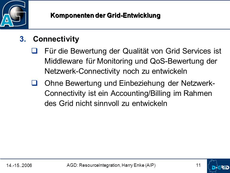11 AGD: ResourceIntegration, Harry Enke (AIP) 14.-15..2006 3. Connectivity Für die Bewertung der Qualität von Grid Services ist Middleware für Monitor
