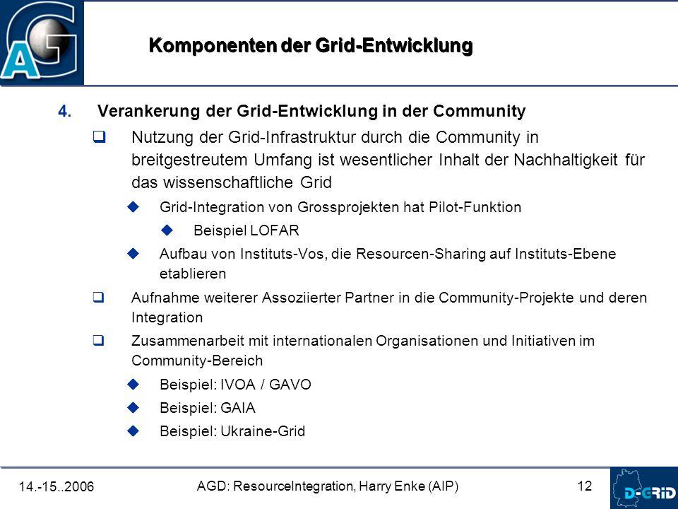 12 AGD: ResourceIntegration, Harry Enke (AIP) 14.-15..2006 4. Verankerung der Grid-Entwicklung in der Community Nutzung der Grid-Infrastruktur durch d