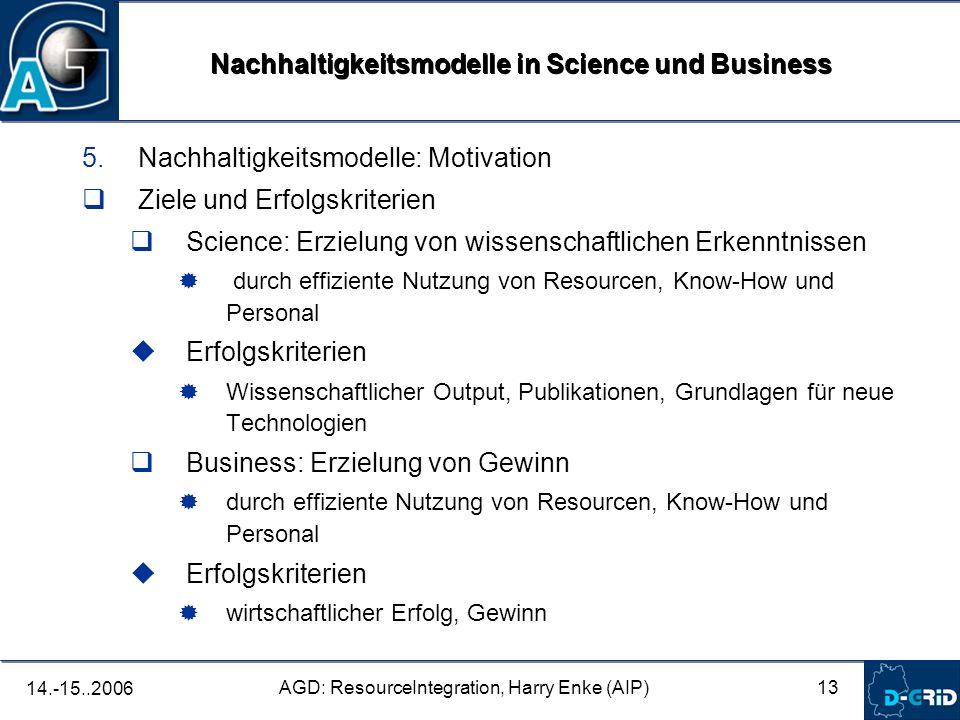 13 AGD: ResourceIntegration, Harry Enke (AIP) 14.-15..2006 5.Nachhaltigkeitsmodelle: Motivation Ziele und Erfolgskriterien Science: Erzielung von wiss