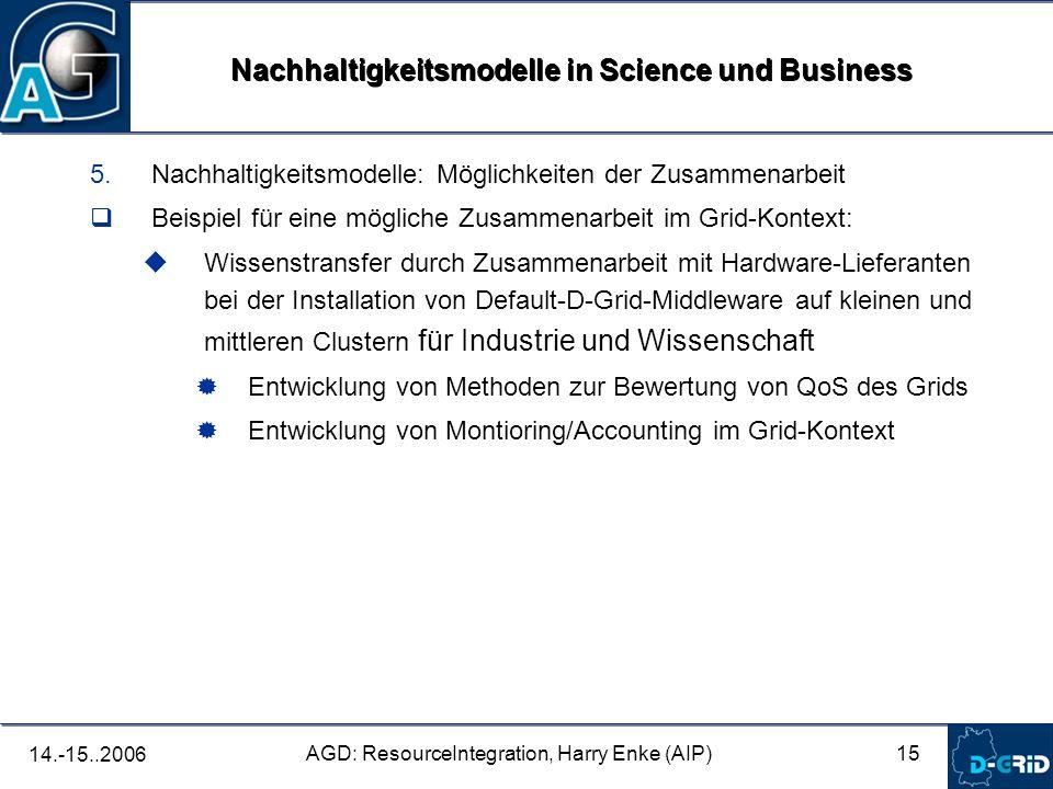 15 AGD: ResourceIntegration, Harry Enke (AIP) 14.-15..2006 5.Nachhaltigkeitsmodelle: Möglichkeiten der Zusammenarbeit Beispiel für eine mögliche Zusammenarbeit im Grid-Kontext: Wissenstransfer durch Zusammenarbeit mit Hardware-Lieferanten bei der Installation von Default-D-Grid-Middleware auf kleinen und mittleren Clustern für Industrie und Wissenschaft Entwicklung von Methoden zur Bewertung von QoS des Grids Entwicklung von Montioring/Accounting im Grid-Kontext Nachhaltigkeitsmodelle in Science und Business