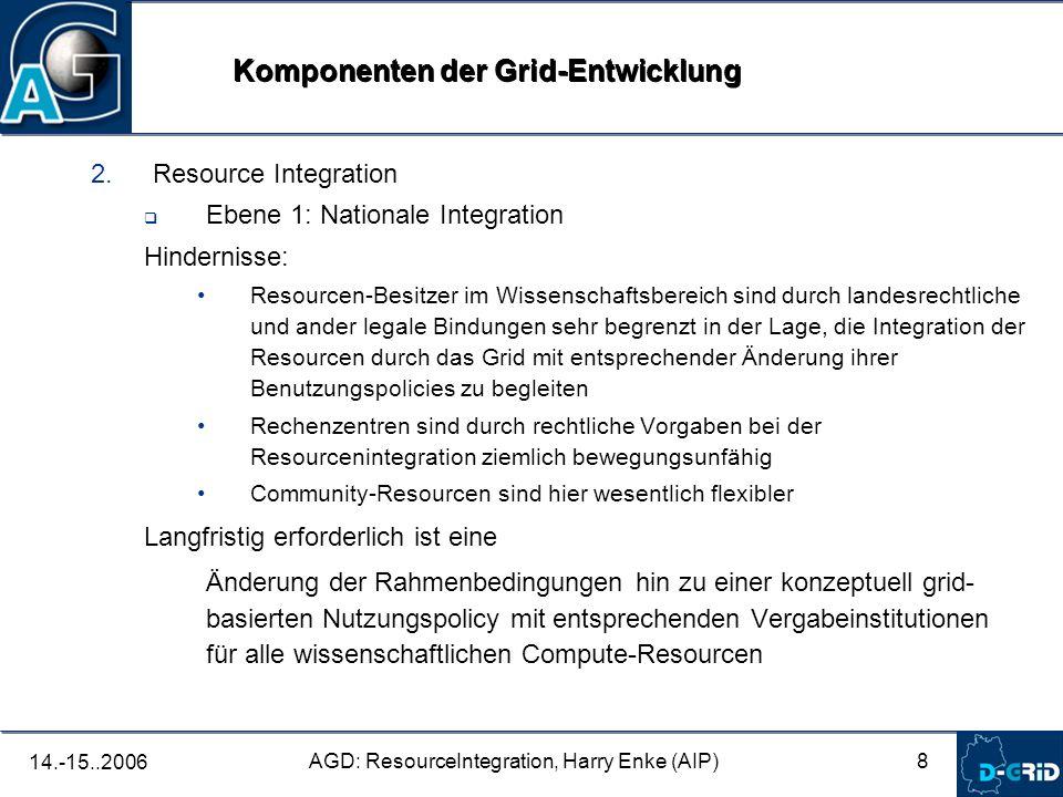 8 AGD: ResourceIntegration, Harry Enke (AIP) 14.-15..2006 2. Resource Integration Ebene 1: Nationale Integration Hindernisse: Resourcen-Besitzer im Wi