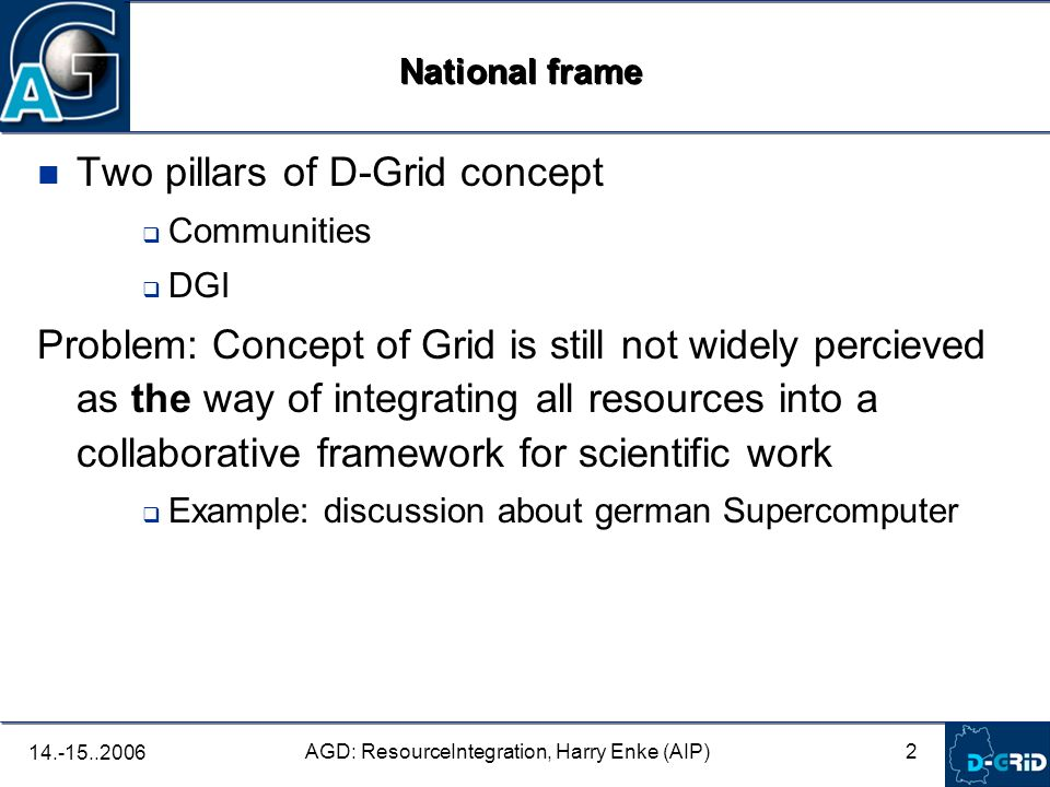 2 AGD: ResourceIntegration, Harry Enke (AIP) 14.-15..2006 Two pillars of D-Grid concept Communities DGI Problem: Concept of Grid is still not widely percieved as the way of integrating all resources into a collaborative framework for scientific work Example: discussion about german Supercomputer National frame