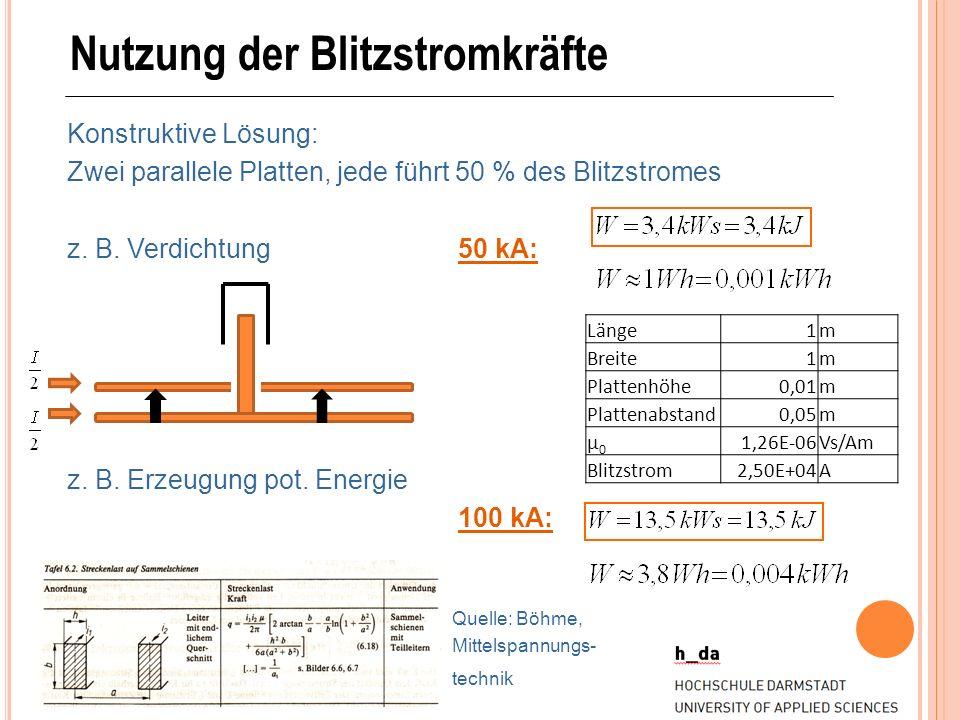 Nutzung der Blitzstromkräfte Konstruktive Lösung: Zwei parallele Platten, jede führt 50 % des Blitzstromes z. B. Verdichtung50 kA: z. B. Erzeugung pot