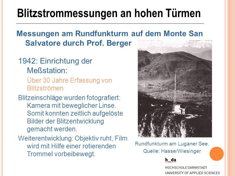 Blitzstrommessungen an hohen Türmen Messungen am Rundfunkturm auf dem Monte San Salvatore durch Prof. Berger 1942: Einrichtung der Meßstation: Über 30