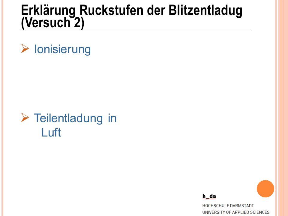 Erklärung Ruckstufen der Blitzentladug (Versuch 2) Ionisierung Teilentladung in Luft