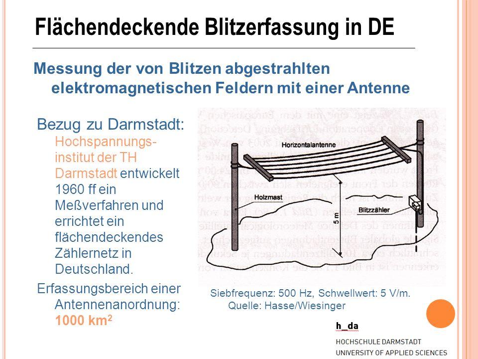 Flächendeckende Blitzerfassung in DE Messung der von Blitzen abgestrahlten elektromagnetischen Feldern mit einer Antenne Bezug zu Darmstadt: Hochspann