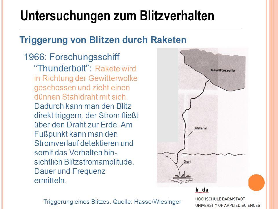 Untersuchungen zum Blitzverhalten Triggerung von Blitzen durch Raketen 1966: Forschungsschiff Thunderbolt: Rakete wird in Richtung der Gewitterwolke g