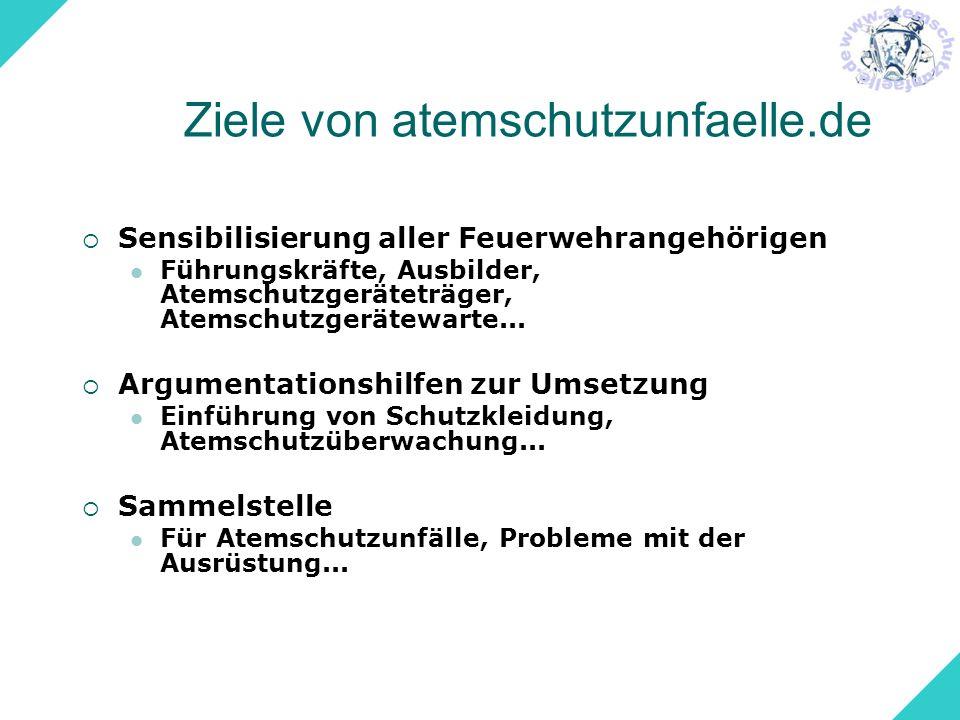 Übersicht Atemschutzunfaelle.de in Zahlen Unfälle und ihre Ursachen Maßnahmen nach einem Unfall Wie gehts weiter?