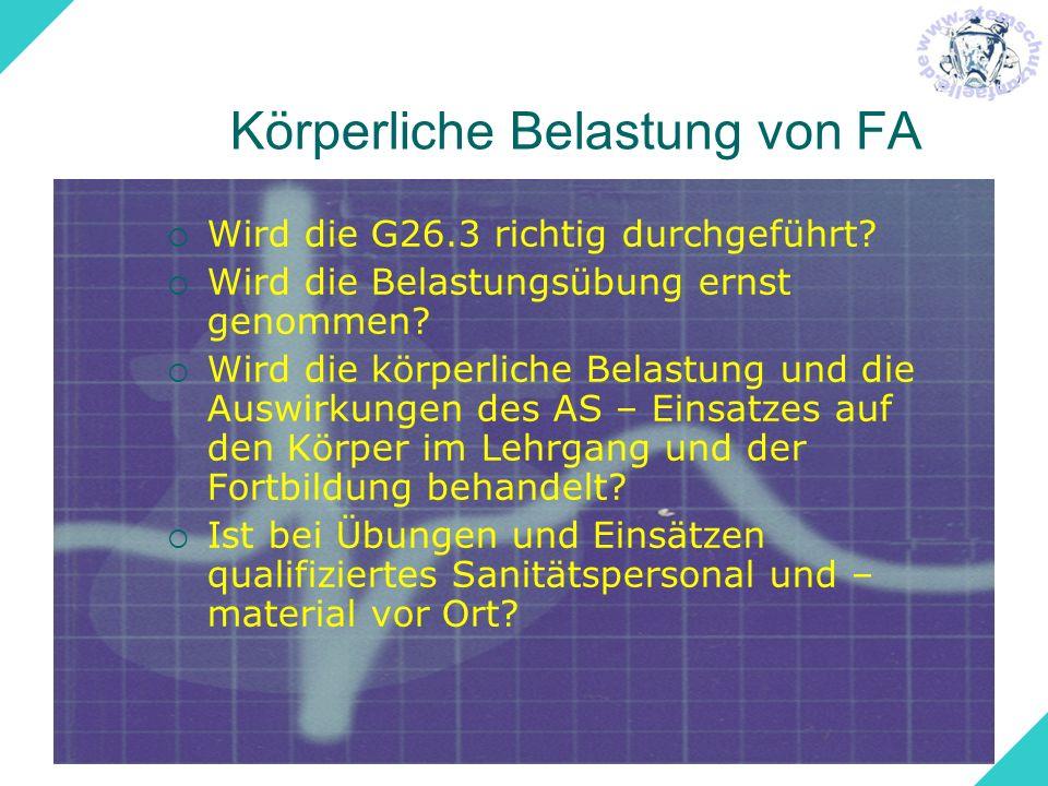 Körperliche Belastung von FA Wird die G26.3 richtig durchgeführt? Wird die Belastungsübung ernst genommen? Wird die körperliche Belastung und die Ausw
