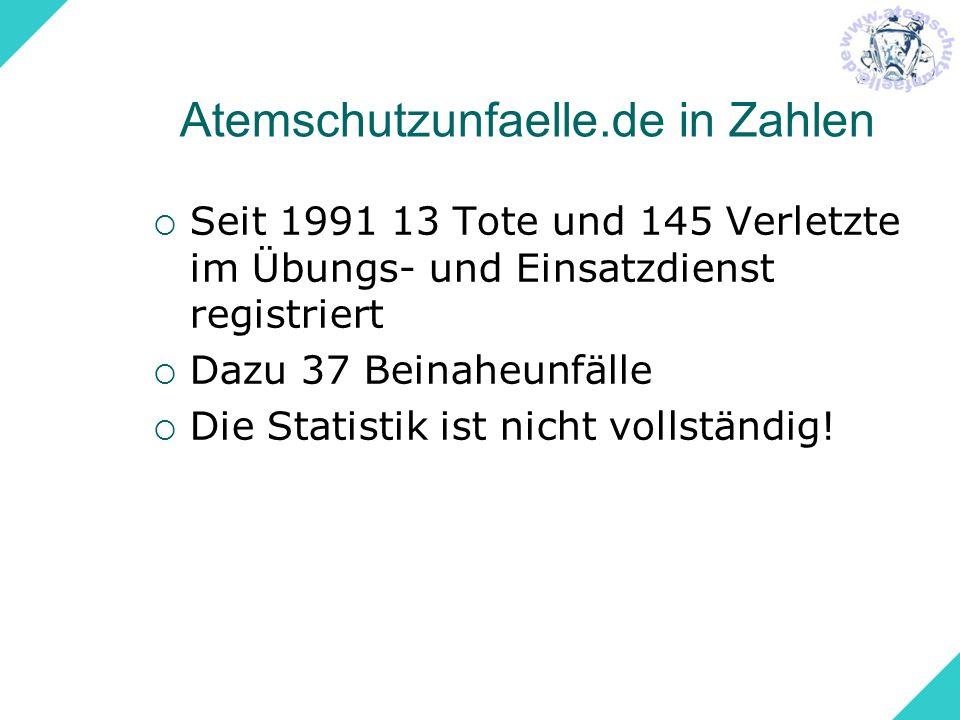 Atemschutzunfaelle.de in Zahlen Seit 1991 13 Tote und 145 Verletzte im Übungs- und Einsatzdienst registriert Dazu 37 Beinaheunfälle Die Statistik ist
