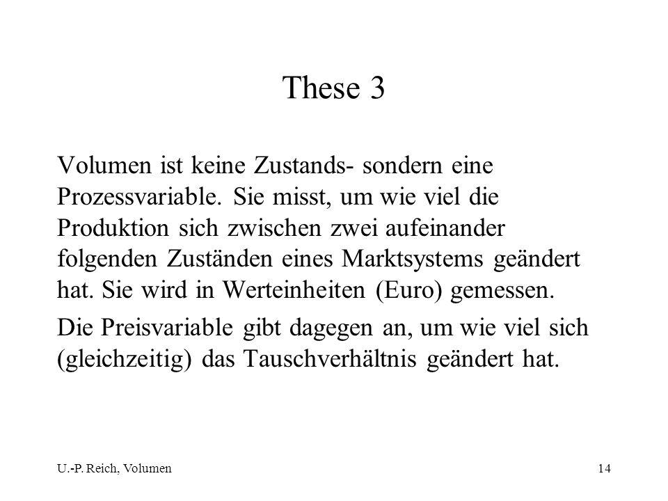U.-P. Reich, Volumen14 These 3 Volumen ist keine Zustands- sondern eine Prozessvariable. Sie misst, um wie viel die Produktion sich zwischen zwei aufe