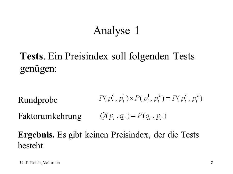 U.-P. Reich, Volumen8 Analyse 1 Tests. Ein Preisindex soll folgenden Tests genügen: Rundprobe Faktorumkehrung Ergebnis. Es gibt keinen Preisindex, der
