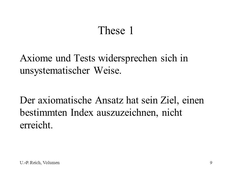 U.-P. Reich, Volumen9 These 1 Axiome und Tests widersprechen sich in unsystematischer Weise. Der axiomatische Ansatz hat sein Ziel, einen bestimmten I