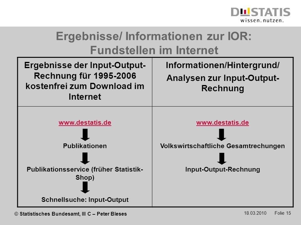 © Statistisches Bundesamt, III C – Peter Bleses 18.03.2010 Folie 15 Ergebnisse/ Informationen zur IOR: Fundstellen im Internet Ergebnisse der Input-Ou
