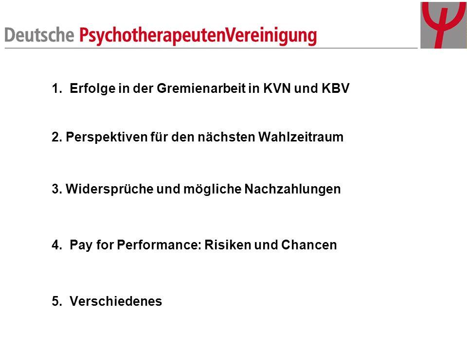 1. Erfolge in der Gremienarbeit in KVN und KBV 2. Perspektiven für den nächsten Wahlzeitraum 3. Widersprüche und mögliche Nachzahlungen 4. Pay for Per