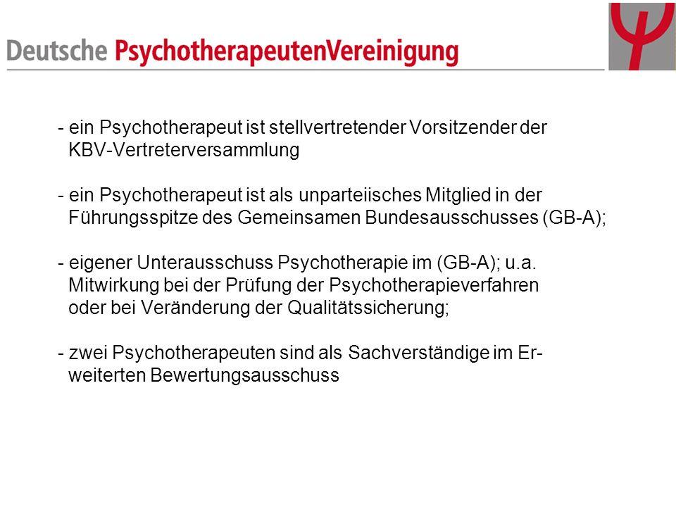 - ein Psychotherapeut ist stellvertretender Vorsitzender der KBV-Vertreterversammlung - ein Psychotherapeut ist als unparteiisches Mitglied in der Füh