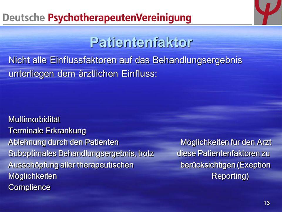 13 Patientenfaktor Nicht alle Einflussfaktoren auf das Behandlungsergebnis unterliegen dem ärztlichen Einfluss: Multimorbidität Terminale Erkrankung A