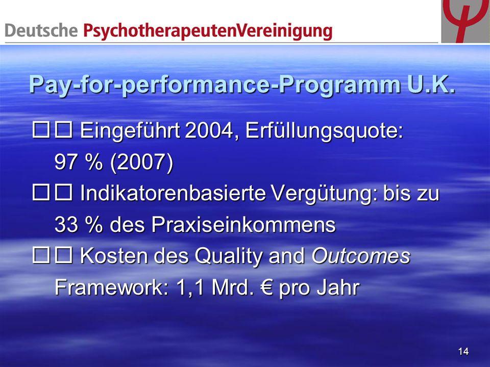 14 Pay-for-performance-Programm U.K. Eingeführt 2004, Erfüllungsquote: Eingeführt 2004, Erfüllungsquote: 97 % (2007) 97 % (2007) Indikatorenbasierte V