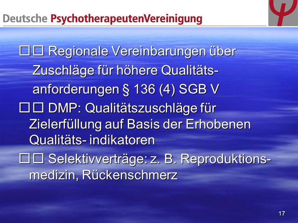 17 Regionale Vereinbarungen über Regionale Vereinbarungen über Zuschläge für höhere Qualitäts- Zuschläge für höhere Qualitäts- anforderungen § 136 (4)