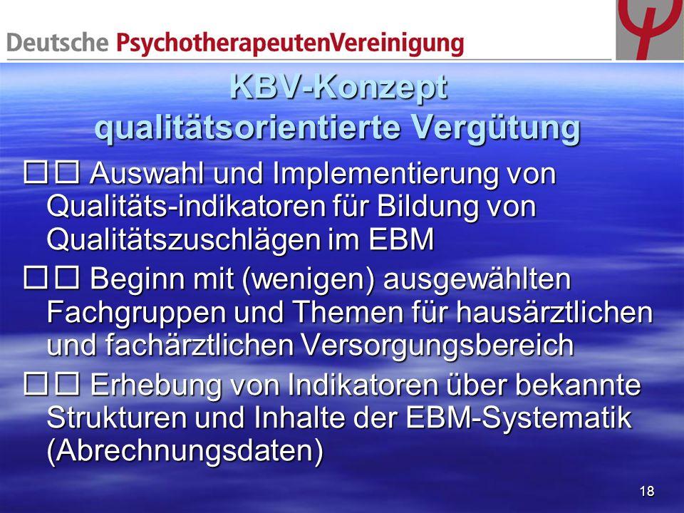 18 KBV-Konzept qualitätsorientierte Vergütung Auswahl und Implementierung von Qualitäts-indikatoren für Bildung von Qualitätszuschlägen im EBM Auswahl