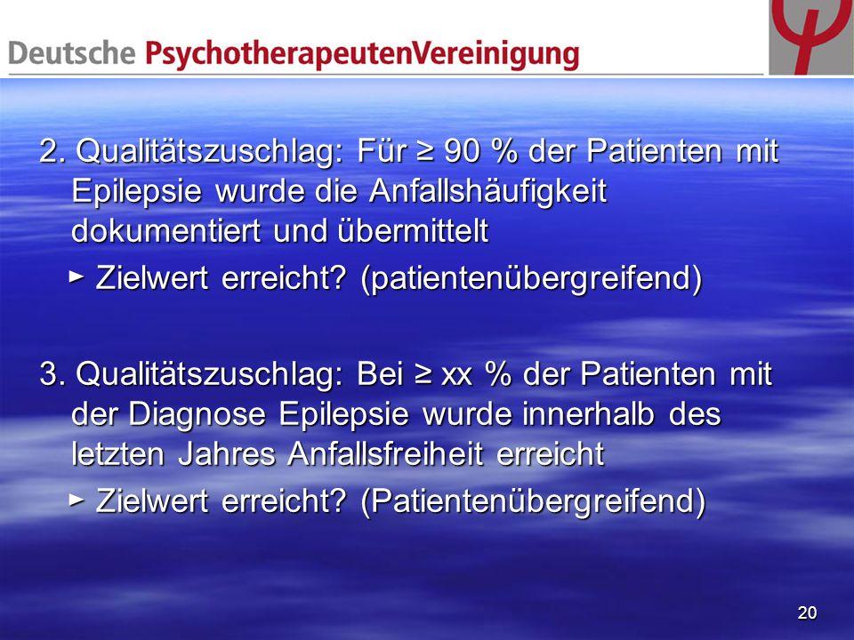 20 2. Qualitätszuschlag: Für 90 % der Patienten mit Epilepsie wurde die Anfallshäufigkeit dokumentiert und übermittelt Zielwert erreicht? (patientenüb