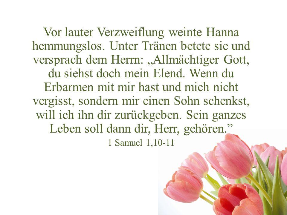 Vor lauter Verzweiflung weinte Hanna hemmungslos. Unter Tränen betete sie und versprach dem Herrn: Allmächtiger Gott, du siehst doch mein Elend. Wenn