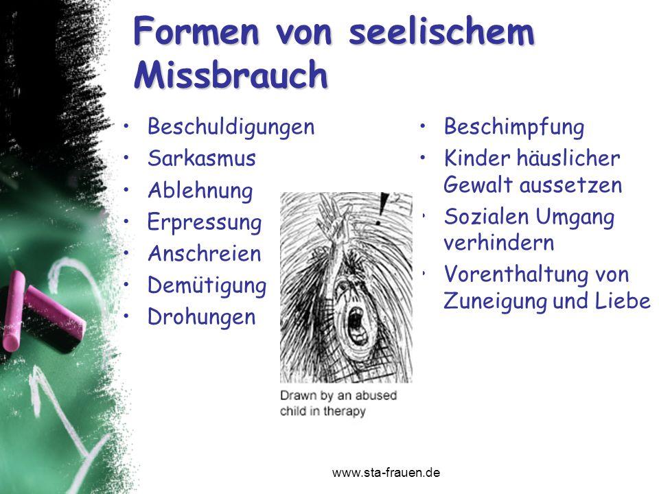 www.sta-frauen.de Formen von seelischem Missbrauch Beschuldigungen Sarkasmus Ablehnung Erpressung Anschreien Demütigung Drohungen Beschimpfung Kinder