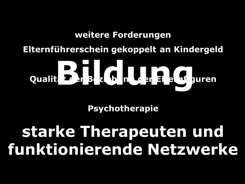 weitere Forderungen Elternführerschein gekoppelt an Kindergeld Qualität der Beziehung der Elternfiguren Psychotherapie starke Therapeuten und funktion