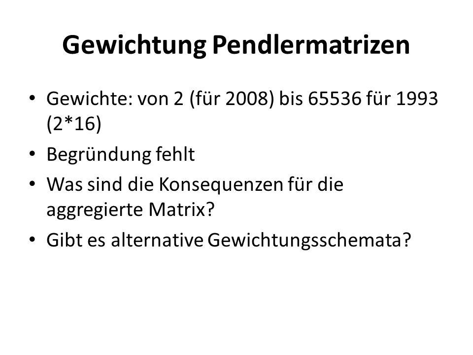 Gewichtung Pendlermatrizen Gewichte: von 2 (für 2008) bis 65536 für 1993 (2*16) Begründung fehlt Was sind die Konsequenzen für die aggregierte Matrix?