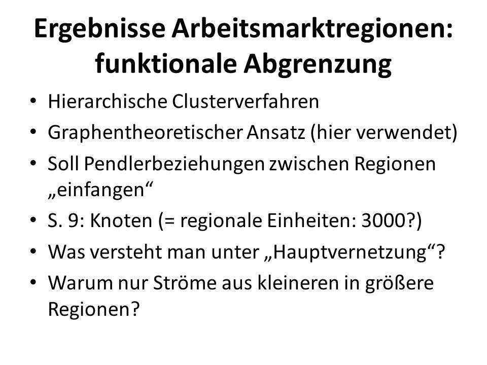 Ergebnisse Arbeitsmarktregionen: funktionale Abgrenzung Hierarchische Clusterverfahren Graphentheoretischer Ansatz (hier verwendet) Soll Pendlerbezieh