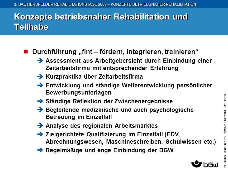 3. BAD HERSFELDER REHABILITATIONSTAGE 2009 – KONZEPTE BETRIEBSNAHER REHABILITATION 090617Bad_Hersfelder_Rehatage – A26M/ 06.2009 – Seiten - 13 Konzept
