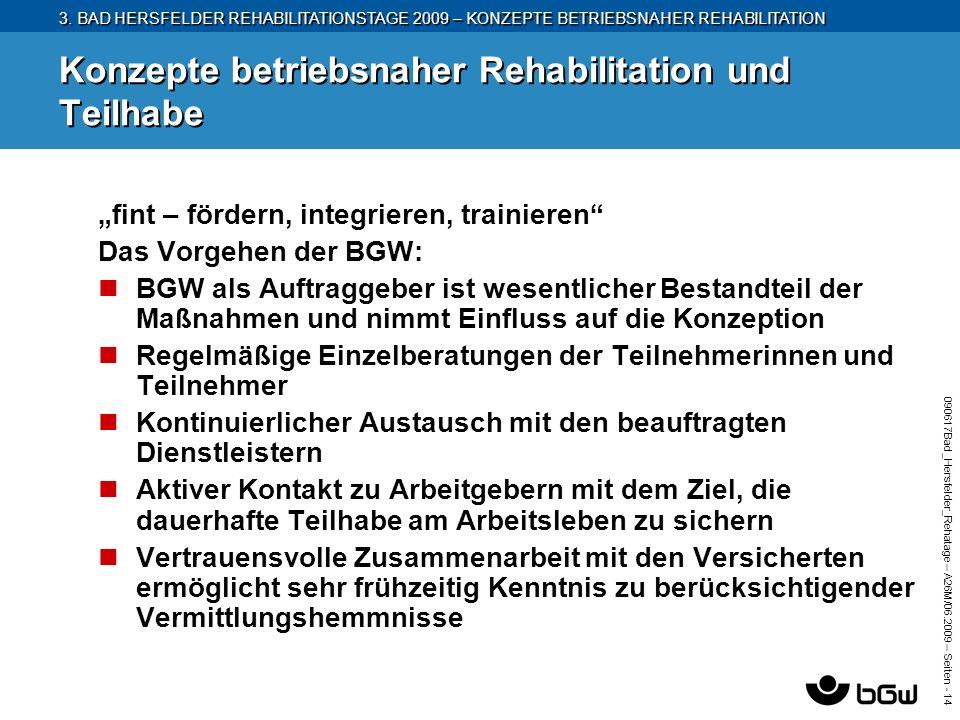 3. BAD HERSFELDER REHABILITATIONSTAGE 2009 – KONZEPTE BETRIEBSNAHER REHABILITATION 090617Bad_Hersfelder_Rehatage – A26M/ 06.2009 – Seiten - 14 Konzept