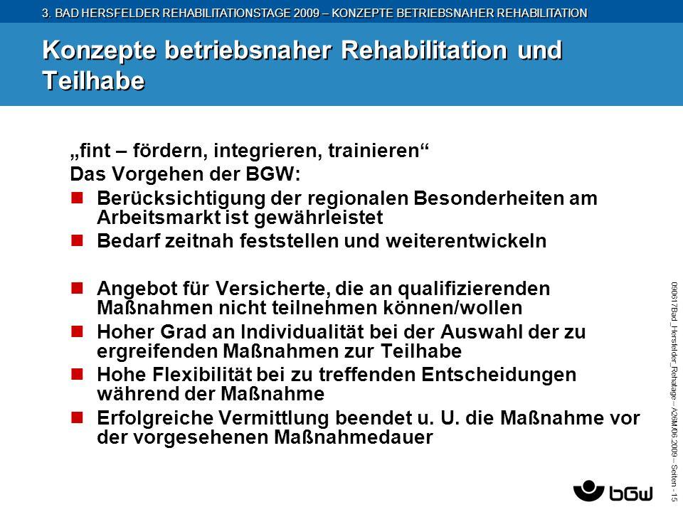 3. BAD HERSFELDER REHABILITATIONSTAGE 2009 – KONZEPTE BETRIEBSNAHER REHABILITATION 090617Bad_Hersfelder_Rehatage – A26M/ 06.2009 – Seiten - 15 Konzept