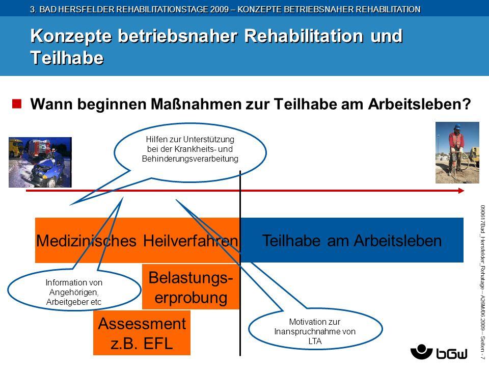 3. BAD HERSFELDER REHABILITATIONSTAGE 2009 – KONZEPTE BETRIEBSNAHER REHABILITATION 090617Bad_Hersfelder_Rehatage – A26M/ 06.2009 – Seiten - 7 Konzepte