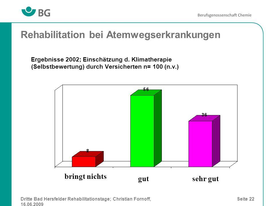 Dritte Bad Hersfelder Rehabilitationstage; Christian Fornoff, 16.06.2009 Seite 22 Rehabilitation bei Atemwegserkrankungen Ergebnisse 2002; Einschätzun