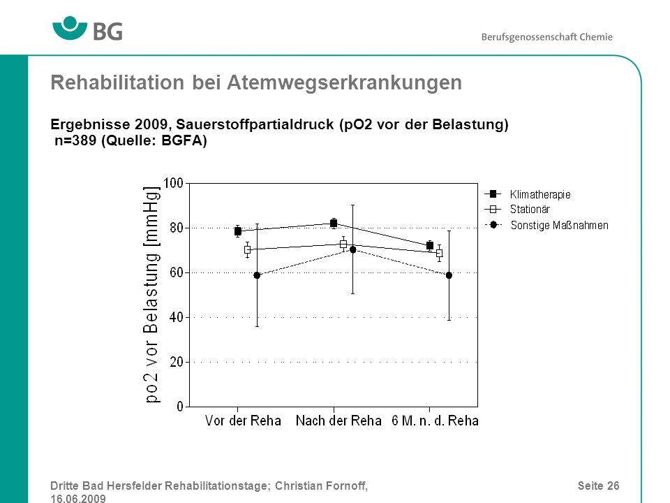 Dritte Bad Hersfelder Rehabilitationstage; Christian Fornoff, 16.06.2009 Seite 26 Rehabilitation bei Atemwegserkrankungen Ergebnisse 2009, Sauerstoffp