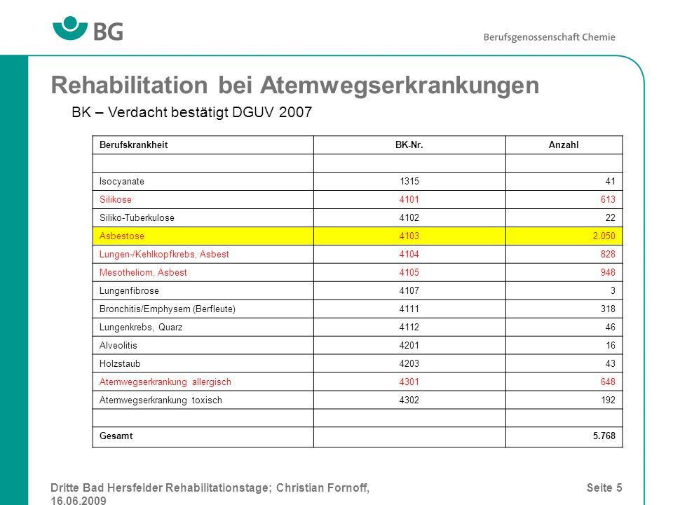 Dritte Bad Hersfelder Rehabilitationstage; Christian Fornoff, 16.06.2009 Seite 5 Rehabilitation bei Atemwegserkrankungen BerufskrankheitBK-Nr.Anzahl I