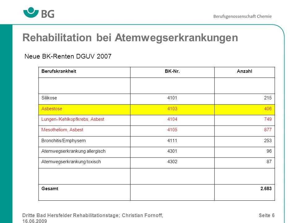 Dritte Bad Hersfelder Rehabilitationstage; Christian Fornoff, 16.06.2009 Seite 7 Rehabilitation bei Atemwegserkrankungen Entwicklung der MdE bei Asbestosen; BG Chemie