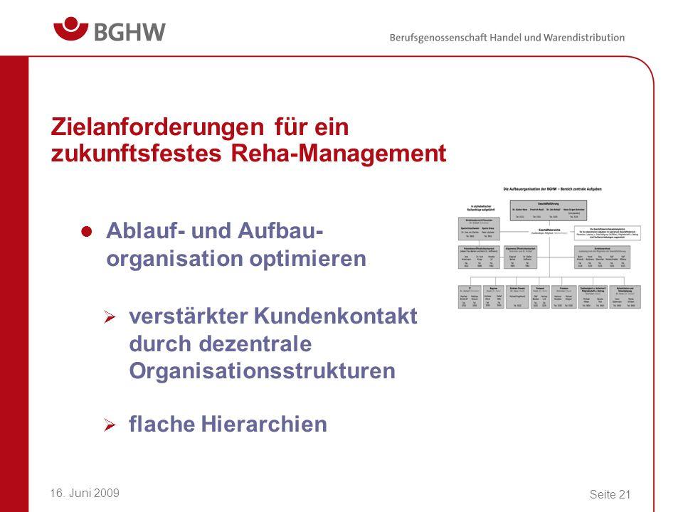 16. Juni 2009 Seite 21 Zielanforderungen für ein zukunftsfestes Reha-Management Ablauf- und Aufbau- organisation optimieren verstärkter Kundenkontakt