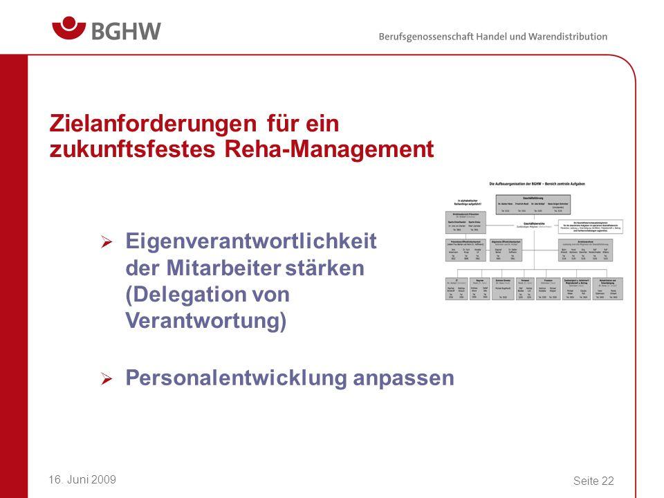 16. Juni 2009 Seite 22 Zielanforderungen für ein zukunftsfestes Reha-Management Eigenverantwortlichkeit der Mitarbeiter stärken (Delegation von Verant