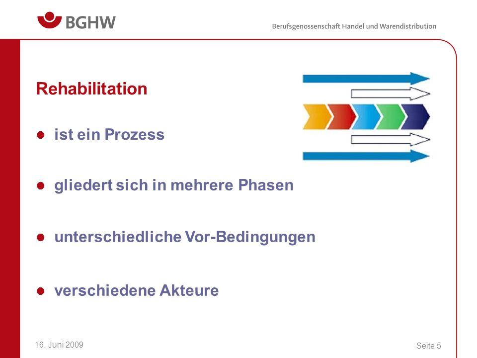 16. Juni 2009 Seite 5 Rehabilitation ist ein Prozess gliedert sich in mehrere Phasen unterschiedliche Vor-Bedingungen verschiedene Akteure